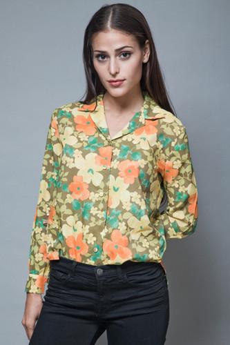 vintage 1970s floral blouse printed top yellow orange long sleeves M L