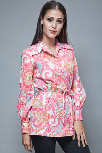 pink psychedelic top vintage 70s printed blouse paisley medallion belted M L