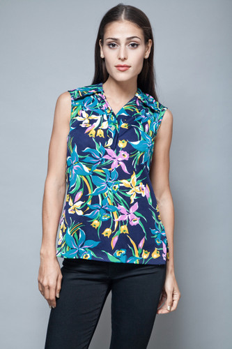 vintage 70s sleeveless top floral navy blue print pointy collar S