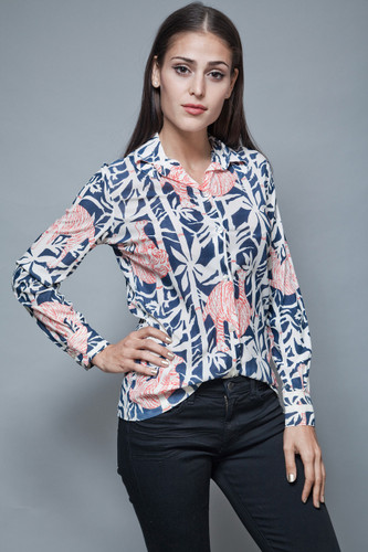 vintage 70s disco polyester shirt printed blouse bamboo tiger slinky S M