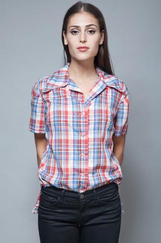 vintage 70s plaid cotton shirt blouse short sleeves metallic L XL