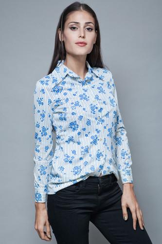 vintage 70s disco polyester hippie boho shirt blouse floral white blue S M