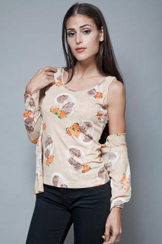 vintage 70s 2-piece tank top shirt blouse long sleeves twin set tan S