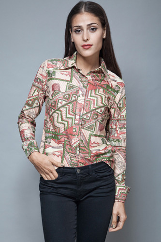 vintage 1970s pointy collar shirt psychedelic print blouse long sleeves top M L
