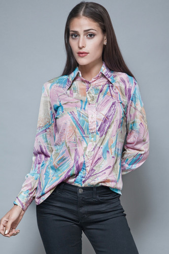 paper thin blouse vintage 70s purple polyester disco shirt abstract painting print M L