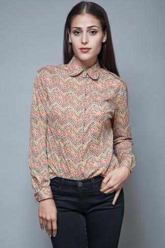 vintage Missoni Sport op art print knit top blouse Peter Pan collar M L