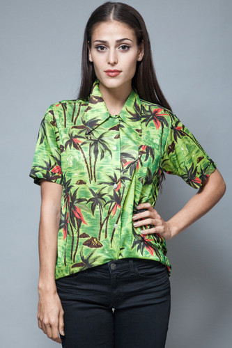 vintage 70s polyester Hawaiian shirt blouse green palm tree pointy collar M L