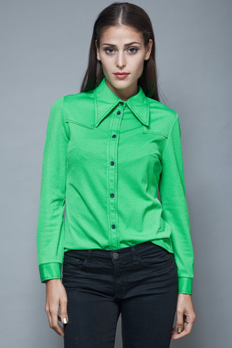 vintage 1970s green solid shirt polyester knit top pointy collar Western M L
