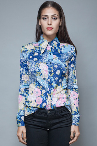 vintage 70s floral print shirt blouse blue pink flower paper thin long sleeves S M