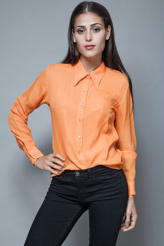 vintage 70s pointy collar blouse solid orange shirt long sleeves semi sheer M L