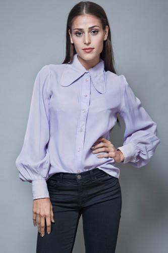 vintage 70s blouse dog ear collar solid purple periwinkle semi sheer M L