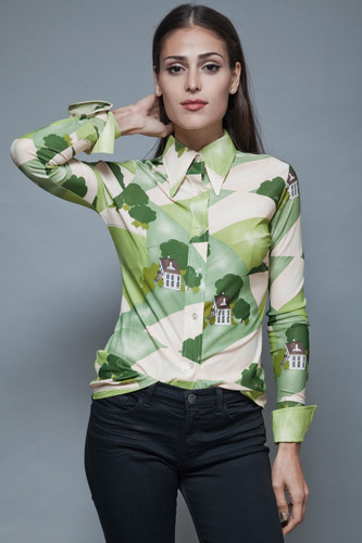 vintage 70s printed shirt blouse country house scene green cream pointy collar S M