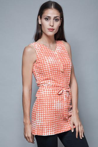 vintage 70s belted tunic top white orange geometric floral op art print sleeveless S M