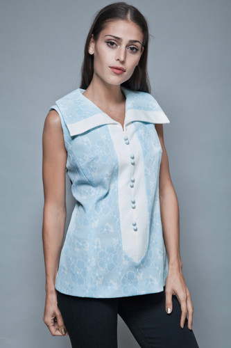vintage 70s sleeveless tunic top blouse baby blue floral damask M L