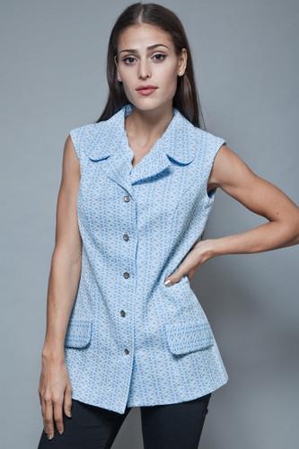 vintage 70s tunic top sleeveless blouse blue white robe damask L