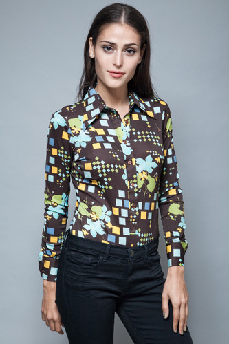 vintage 70s nylon knit shirt geometric floral printed blouse brown blue S M