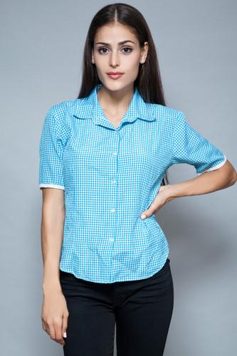 vintage 80s plaid shirt blouse cotton blue short sleeves M