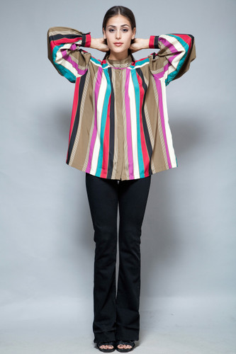 vintage tent top pleated blouse striped stripes slinky long sleeves L XL