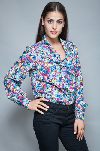 vintage 70s pussy bow blouse floral printed secretary top long sleeves L