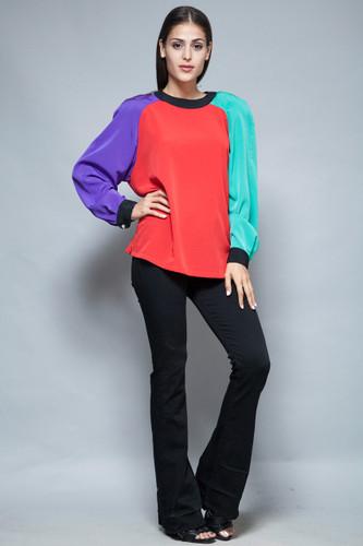 vintage 80s colorblock blouse top long sleeves flowy bright color block XL 1X