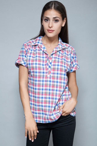 vintage 70s plaid blouse casual top blue pink short sleeves ONE SIZE