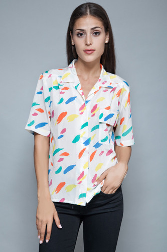 vintage 80s paint stroke printed blouse top white slinky oversized ONE SIZE