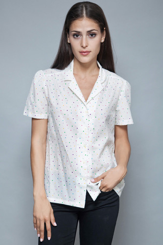 polka dot blouse top vintage 70s shirt colorful white short doll sleeves L