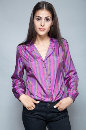 vintage 70s secretary blouse purple striped top satin long sleeves M L