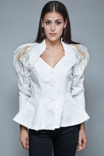 vintage 80s power peplum jacket white top beaded embroidered shoulder pads M L