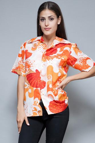 vintage 70s Hawaiian shirt orange sea shells wave print polyester M