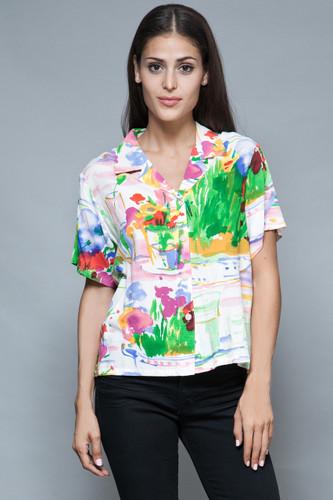 Jams World shirt top colorful Hawaiian summer rayon floral M