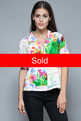 Jams World shirt top colorful Hawaiian summer rayon floral M  :