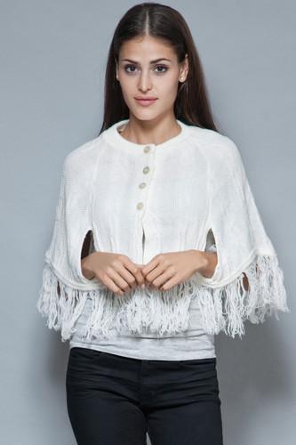 vintage 60s poncho cape capelet white cable knit fringes