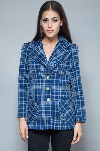 vintage 70s jacket blazer top epaulettes navy white plaid pockets L XL