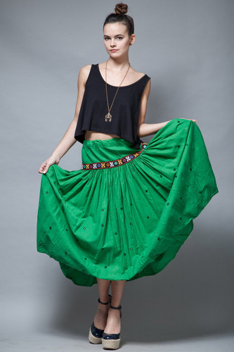 vintage skirt green cotton gathered ethnic mirrors embroidered drawstring ONE SIZE
