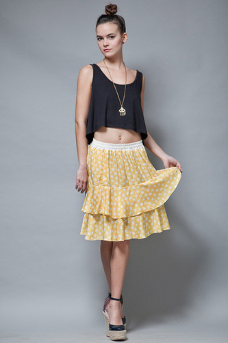 vintage 80s skirt ruffled tiered yellow satin damask flowy ONE SIZE