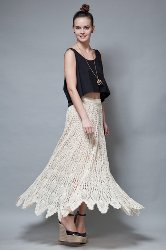 boho crochet skirt handkerchief hem fairy cotton cream vintage 70s hippie L