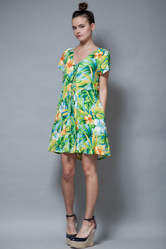vintage Jams World laced dress green tropical print rayon summer S M