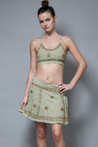 boho vintage ethnic skirt outfit crop top halter open back summer festival ONE SIZE