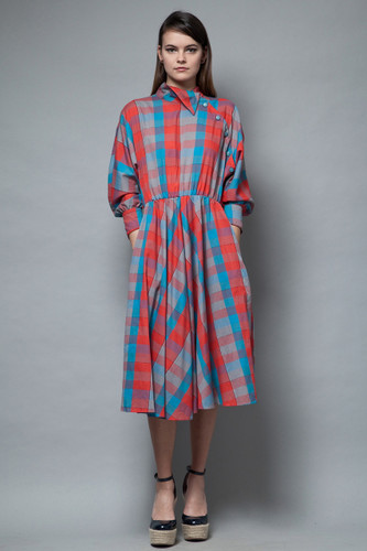 vintage 70s chambray plaid dress origami cotton batwing red blue asymmetrical ONE SIZE