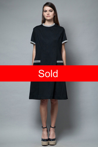 vintage 60s Mod shift dress day pocket dress black contrasting piped trims XL 1X