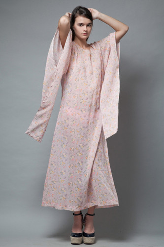 vintage 70s boho kimono angel sleeves maxi dress pink gauze floral ethereal S