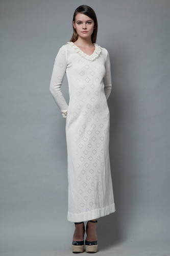 vintage 70s maxi dress eyelet ribbed knit white crochet collar sleeves S M