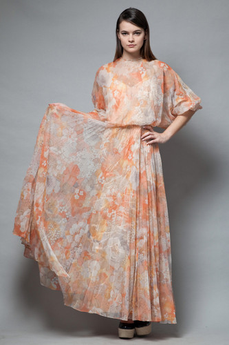 vintage 70s boho maxi dress pleated orange floral tangerine batwing sheer S