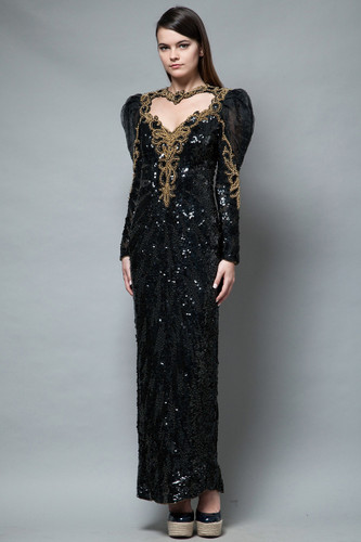 vintage 80s trophy dress gown sequins black gold heart open back performance intricate S