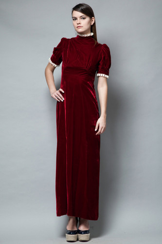 unworn deadstock vintage 70s maxi dress prairie oxblood red velvet lace trims S