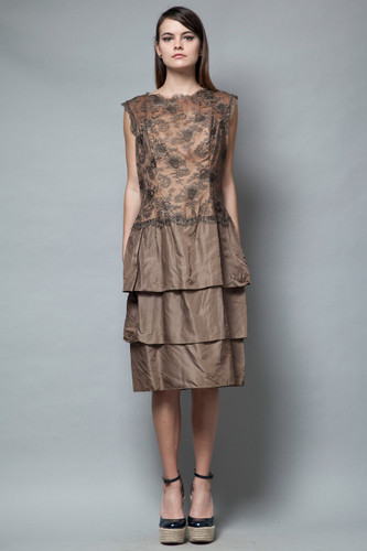 vintage 50s tiered party dress brown floral lace drop waist sleeveless L