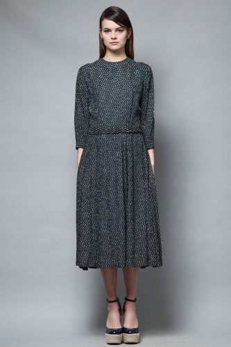 vintage 40s dress belted midi half sleeves black textured knotted M L