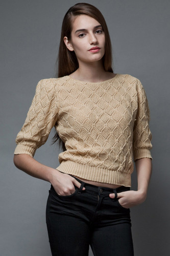 vintage 70s crochet knit sweater tan puff sleeves ONE SIZE