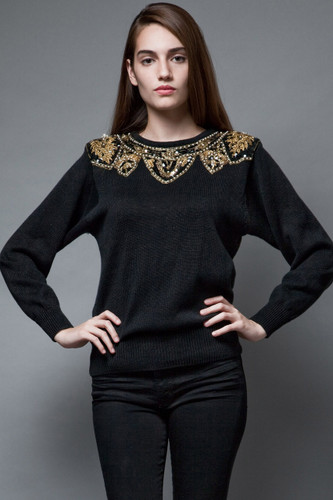 vintage 80s black sweater gold embroidery beaded sequins ONE SIZE